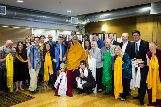 FPMT International Office Staff and present Board of Directors  with His Holiness the Dalai Lama. Photo by Leah Nash.