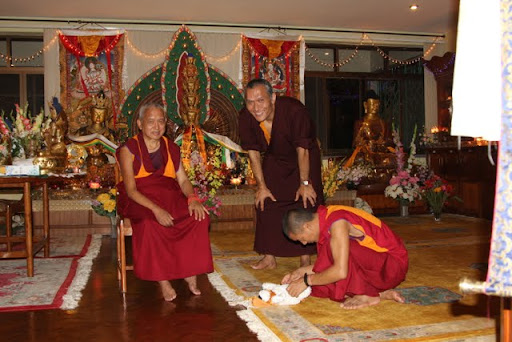 Lama Zopa Rinpoche and Yangsi Rinpoche at Kopan Monastery, July 2011