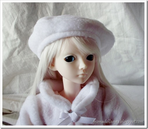 White Fleece Hat for Ball Jointed Doll