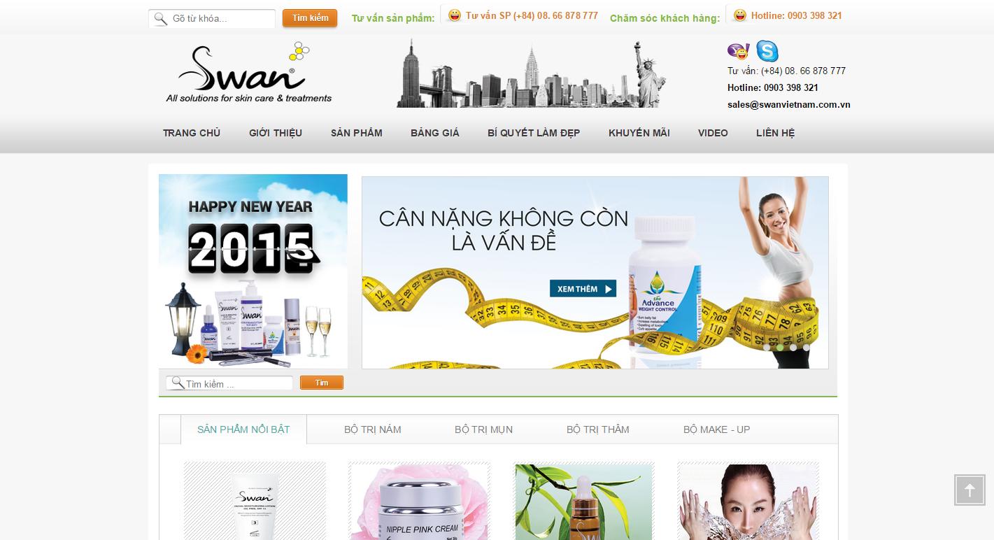 Thiết kế Web mỹ phẩm swanvietnam.com.vn