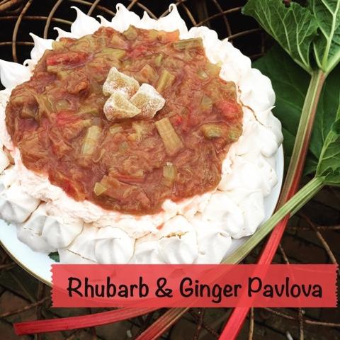 Rhubarb & Ginger Pavlova