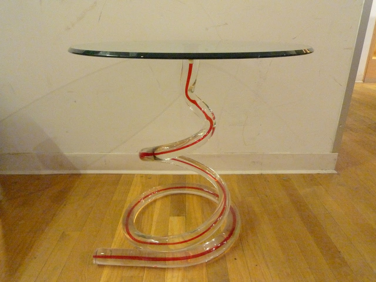 Signed Glass Coil Side Table