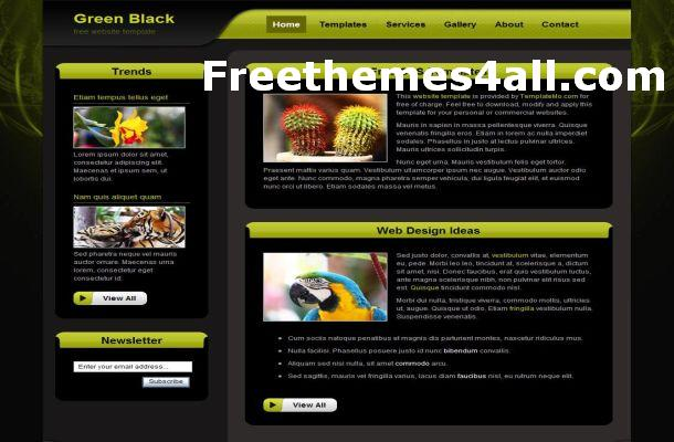 Free Green Black CSS Website Template