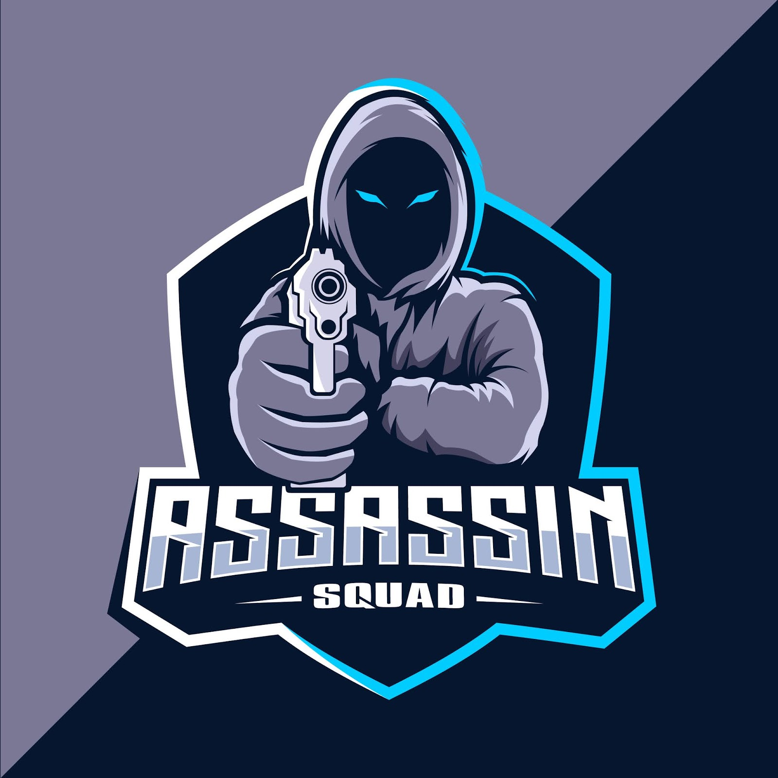 Assassin With Guns Mascot Esport Logo Design Free Download Vector CDR, AI, EPS and PNG Formats