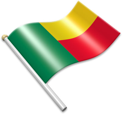 The Beninese flag on a flagpole clipart image