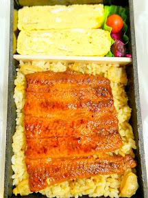 Bento box with egg, eel and rice