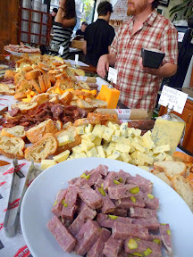 Steve Jones of Cheese Bar offering cheeses and charcuterie at Bailey's Taproom- 2007-2012 5th Anniversary Gloriousness