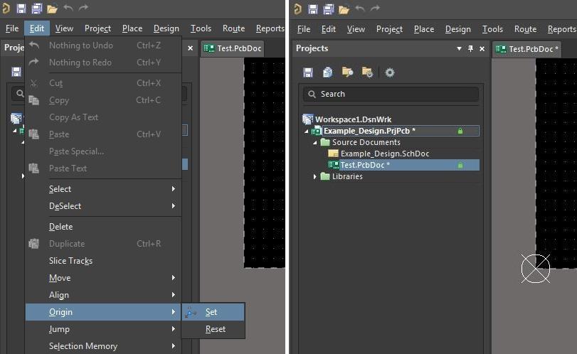 Changing Board Sizes in Altium  screenshot of setting the origin