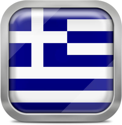 Greece square flag with metallic frame