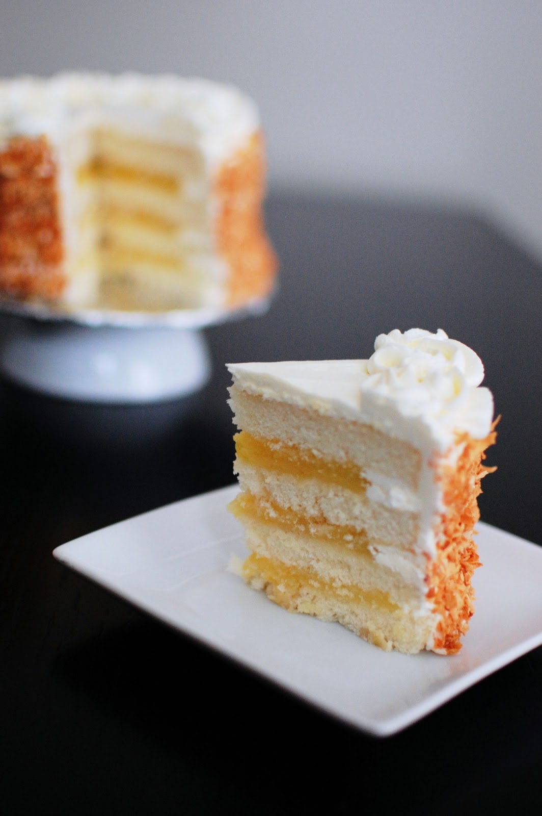 Coconut Layer Cake Filled with Lemon Curd | Beantown Baker