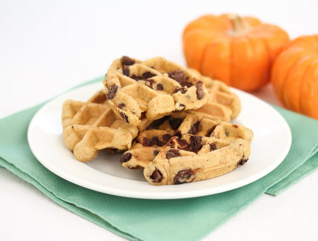 photo of Waffled Pumpkin Chocolate Chip Cookies piled on a plate