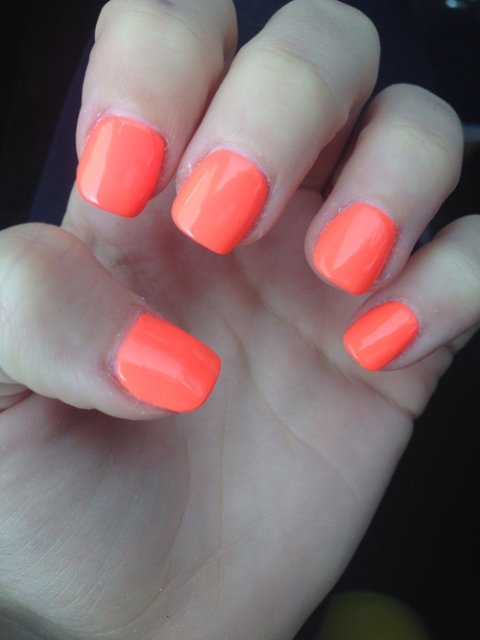 Short Acrylic Orange Nails For Girls