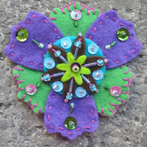 Colorful felt brooches with hand embroidery 103