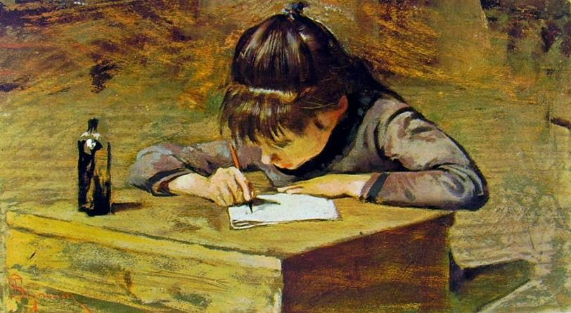 Telemaco Signorini - Bambina che scrive
