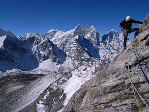 Photo: Jim on a rock traverse of Ama Dablam, Nepal