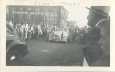Harry S Truman motorcade driving down 300 block of S. Blount St - 1952.Courtesy of Winnie Lottes Lacy