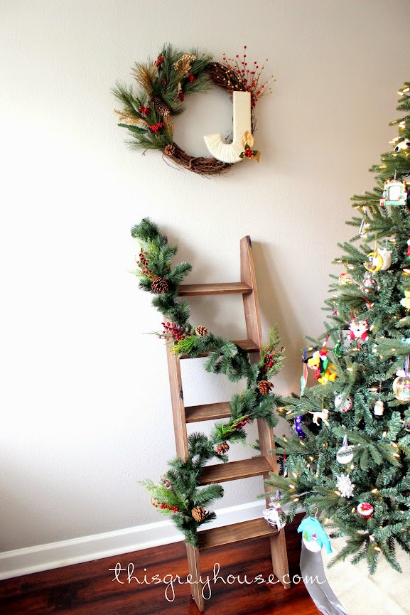 DIY Stocking Ladder by This Grey House