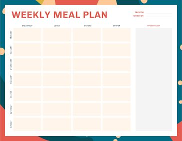 Colorful Weekly Meal - Planner Template