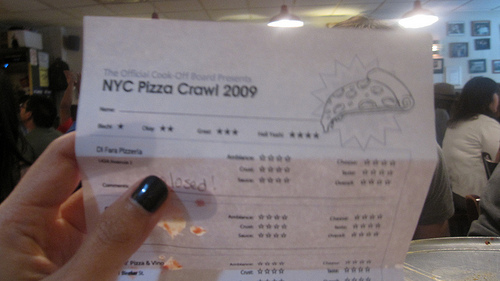 Here's the score sheet of the Pizza Crawl. We rated pizzas based on the crust, sauce, cheese and ambiance of the restaurant.