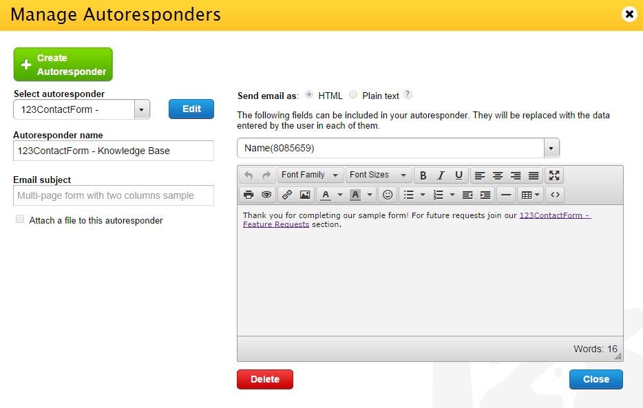 Manage Autoresponders