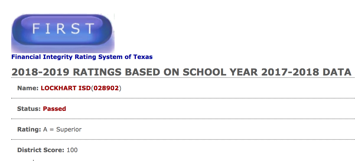 LISD scores 100 on state financial integrity rating
