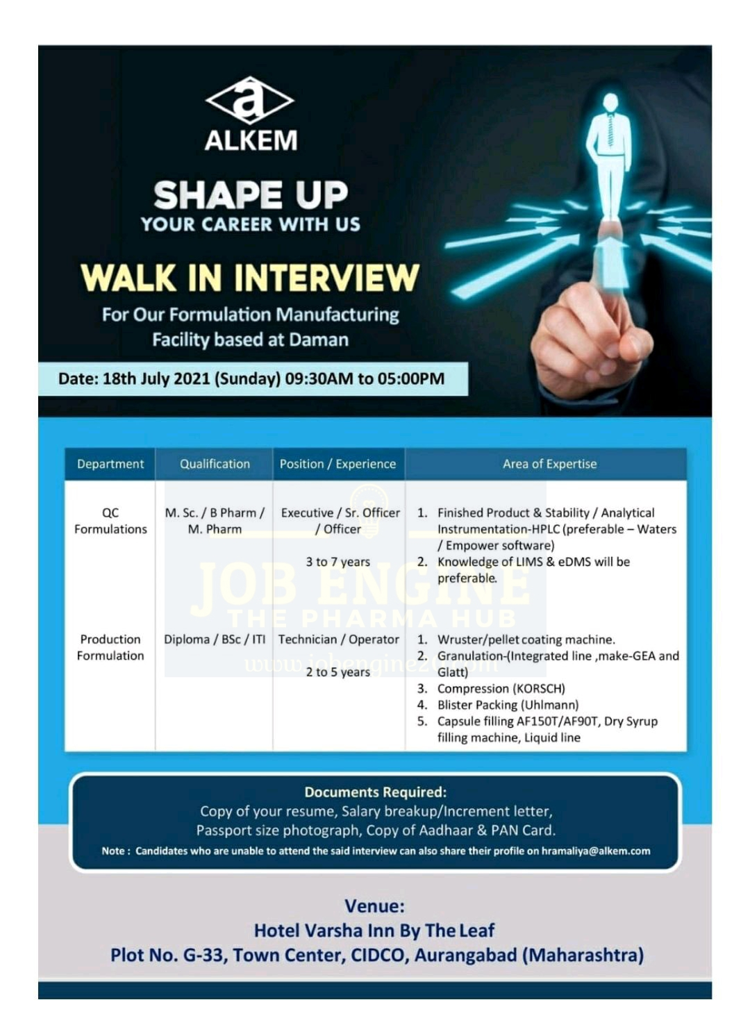 Walk-in By Alkem For Production & Quality Control Department