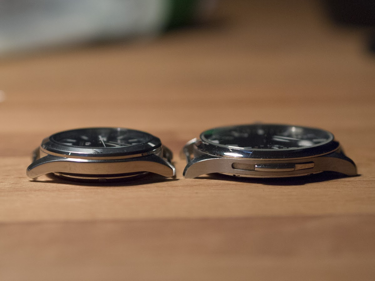 38mm is clearly smaller than 44. The Parnis is slightly skinnier, though.