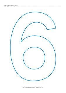 Lámina para colorear y pintar el número seis en color cian