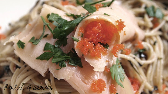 Capellini with Red Basil Pesto and Shrimp Roe Confetti