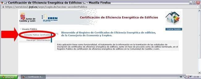 buscar certificado energetico en junta castilla y leon y registro ceren 4