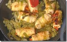 Involtini di pollo con peperoni e porro