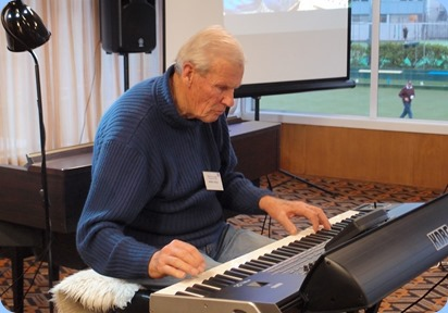 Arthur Reid brought his Korg Pa3X 76 and played the arrival music for us. Photo courtesy of Dennis Lyons.
