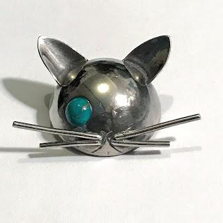 Georg Jensen Sterling Silver Winking Cat Brooch