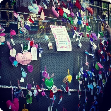 #AHeart4Mcr decorated hearts in  Manchester - photo by Fenella Williams