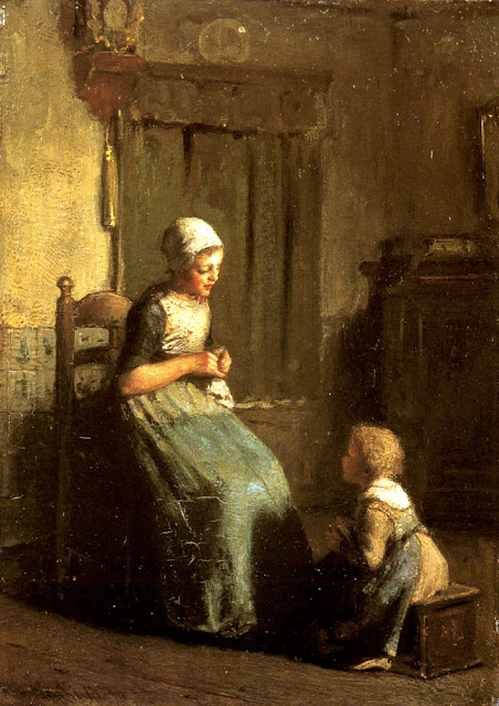 Albert Neuhuys - The Knitting Lesson