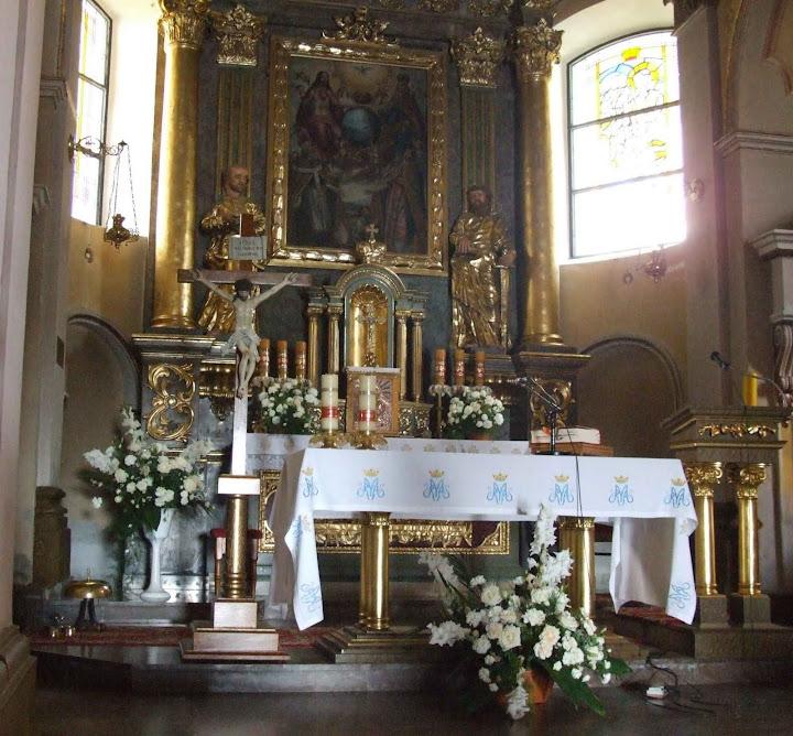 Ołtarz,  obraz św. Floriana w pancerzu