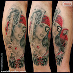 sexy female pirate with parrot - tattoos for men