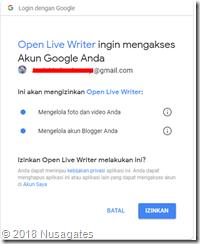 Mengijinkan Open Live Writer Mengakses Blogger