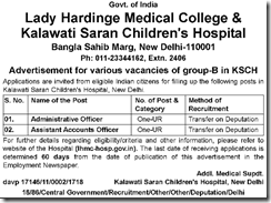 Lady Hardinge Medical College Advertisement 2017 www.indgovtjobs.in