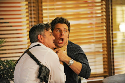 "PSYCH -- ""No Truth About It"" Episode 7013 -- Pictured: (l-r) Timothy Omundson as Carlton Lassiter, James Roday as Shawn Spencer -- (Photo by: Alan Zenuk/USA Network)"