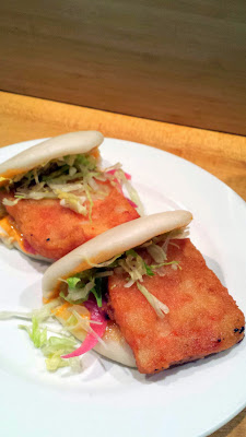 Momofuku Noodle Bar- Shrimp Buns with spicy mayo, pickled red onion, iceburg