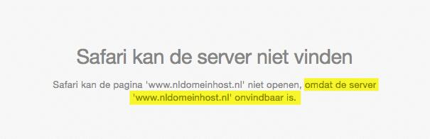 Safari melding: .NL domein host onvindbaar www.nldomeinhost.nl