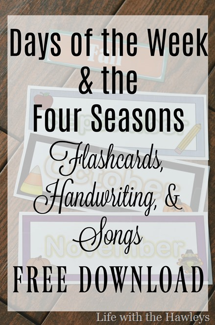 Day of the Week and the Four Seasons Flashcards- Life with the Hawleys