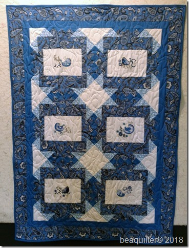 embroidery frames quilt blue