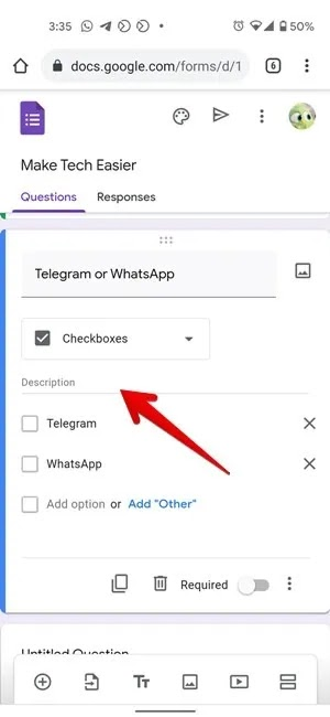 Google Form Type Description Mobile