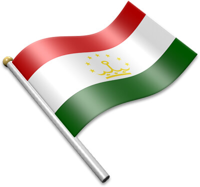 The Tajikistani flag on a flagpole clipart image