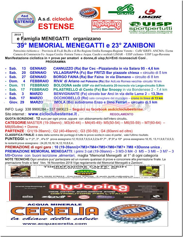 2018-01-01 UISP - Calendario 39 Memorial Menegatti e 23 Memorial Zaniboni - Emilia-Romagna