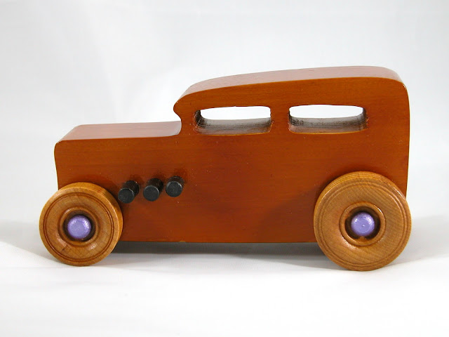 Handmade Wooden Toy Car, Hot Rod 1932 Ford Sedan, Amber Shellac with Metallic Purple and Black Trim