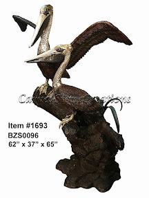 Bronze, Fountain, Pelican, Statue, Wings