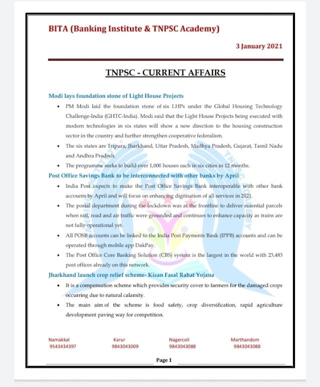 TNPSC Exam - Today Current  Affairs By BITA Academy ( 03 January  2021 )